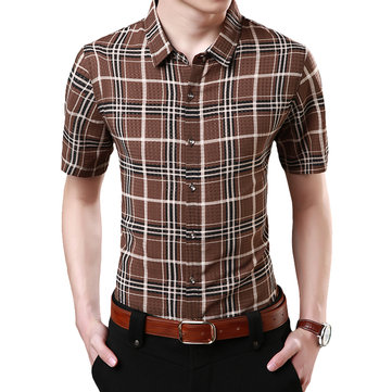 Mens Plaid Printing Summer Turn Down Collar Non-ironing Slim Casual Shirts