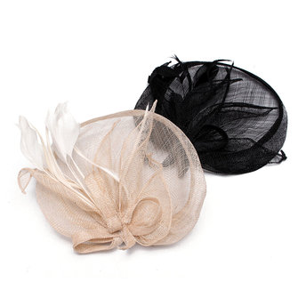 Women Lady Headdress Linen Floral Gauze Feather Hair Clip Hair Accessories