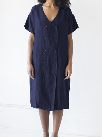 Women Short Sleeve Button V Neck Casual Loose Dress