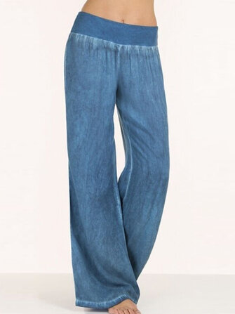 S-5XL Women Casual Elastic Waist Wide Leg Pants Flare Trousers