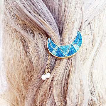 Sweet Shiny Moon Beads Tassels Hair Clip Hair Accessories for Girls Women