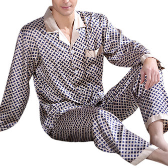 Tow Peices Casual Home Thin Long Sleeve Imitation Silk Printing Sleepwear Sets for Men