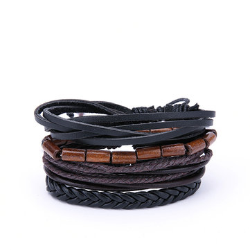 Punk Vintage Multilayer Wood Beaded Bracelets for Men