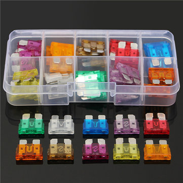 50Pcs 3A-40A Colour Medium Blade Fuses Assortment Kit -10 Sizes