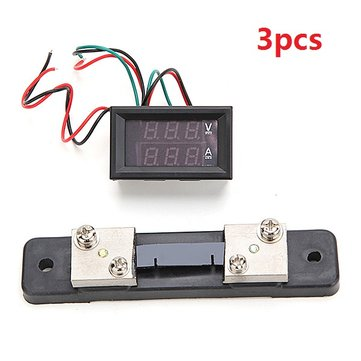 3pcs Mini Digital Blue + Red Led DC Current Meter Volt Meterr With Ampere Shunt