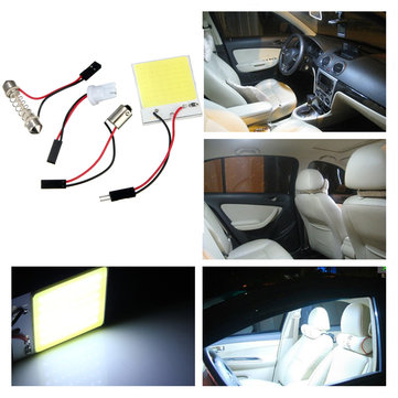 48 LED Chip COB T10 BA9S Festoon Dome White Interior Light Panel Car Bulb Lamp