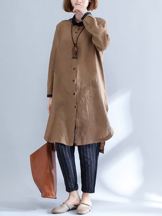 Casual Loose Women Long Tops Turn Down Long Sleeve Asymmetric Dresses