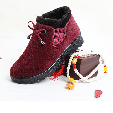 Pattern Bowknot Warm Fur Lined Flat Women Boots