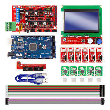 Rampas 1.4 Controller + Mega2560 R3 + 12864 Display with Limit Switch & A4988 Stepper Motor Driver DIY Kit for Arduino CNC 3D Printer