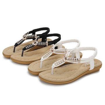 SOCOFY Bohemian Clip Toe Flat Beach Sandals For Women