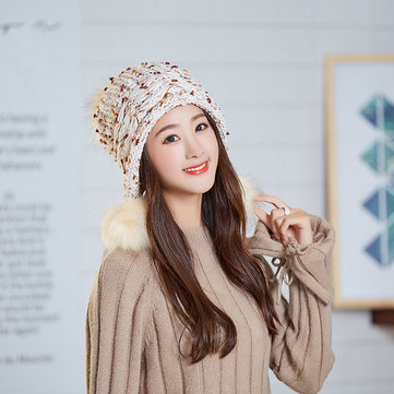 Women Winter Warm Cute Earflap Pompoms Knitted Beanie Hat