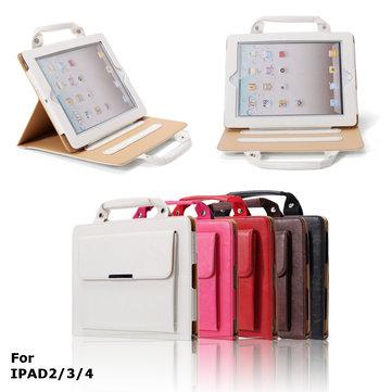 بو الجلود الوقوف القضية مع مقبض والتخزين مقصورة iPad 2 3 4 - مثالية للسفر