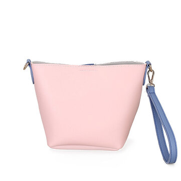 Women PU Leather Casual Daily Color Block Handbag Crossbody Bag