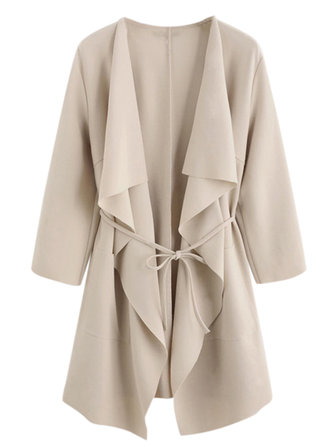 Casual Women Waterfall Collar Pocket Front Wrap 3/4 Sleeve Trench Coats with Belt