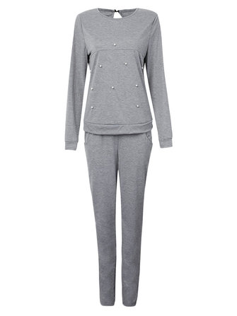 Casual Sport Gray Beaded Stretch Waist Pullover Tracksuit For Women