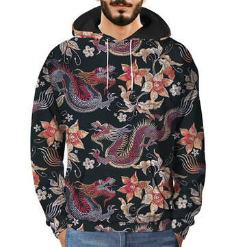 Men's Vintage Embroidery Dragon 3D Printing Sweatshirts