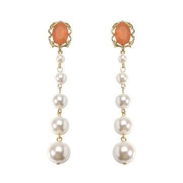 JASSY® Retro Pearl 18K Gold Plated Ear Drop Elegant Orange Opal Women's Long Earrings