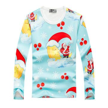 SantaClausพิมพ์เสื้อกันหนาวMensCasualLoose การ์ตูนบุคลิกภาพเสื้อกันหนาวเสื้อสวมหัว