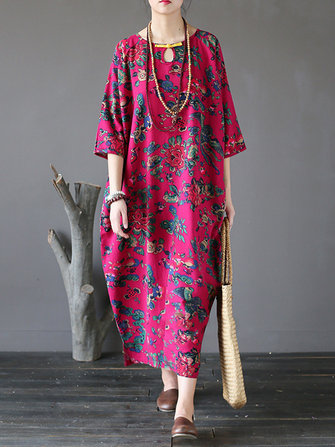 Floral Printed Plate Buckle Maxi Dress