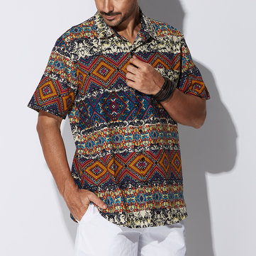 TWO-SIDED Mens Hawaiian Style Loose Ethnic Floral Printing Beach Plus Size Casual Shirts