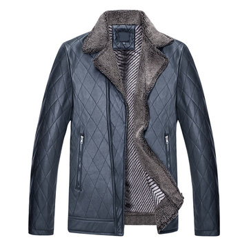 Winter PU Leather Velvet Plus Thick Warm Rhombus Tilted Zipper Closure Faux Fur Jacket for Men