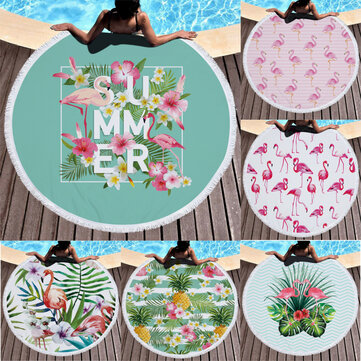 Fashion Flamingo Round Beach Towel With Tassels Microfiber 150cm Picnic Blanket Beach Cover Up