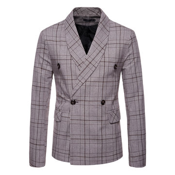 Mens Elegant Slim Fit Plaid Printed Suits