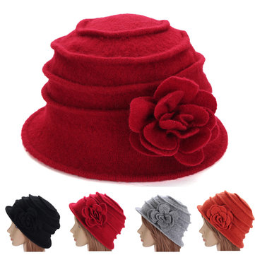 Women Ladies Flower Wool Felt Bucket Beanie Hat Packable Foldable Cloche Cap