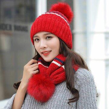 Women's Winter Dual-Use Striped Knit Beanie Hat Cycling Warm Windproof Earmuffs Wool Cap