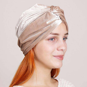 Women Velvet Solid Color Turban Hat Ear Protect Casual Elastic Beanies Cap