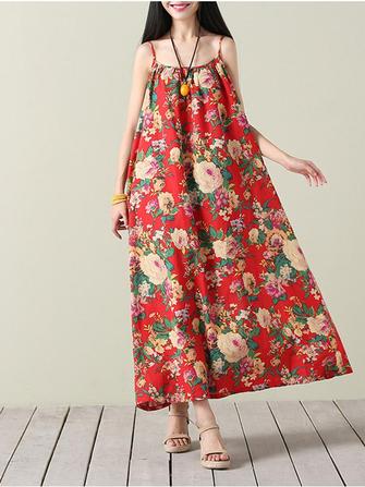 Женское Винтаж Платье для цветных принтов Свободное платье O-образным вырезом для спагетти