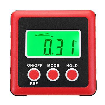 4 x 90° Digital Bevel Box Gauge Angle Finder Protractor Waterproof LCD Green Backlight Display