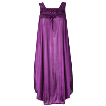 Women Sexy Ice Silk Sleepwear Breathable Sleeveless Pure Color Nightdress Lingerie