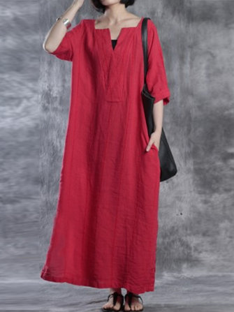 Women Solid Half Sleeve Maxi Dress