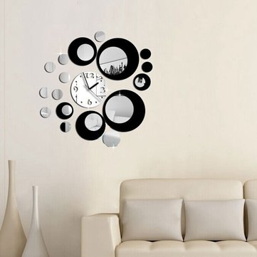 Honana DX-X6 Creative 3D Acrylic Mirror Wall Sticker Quartz Clocks Watch Large Home Decor