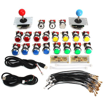 Arcade Game Controller DIY Kit Parts USB Encoder to PC 5Pin Joystick 19 Chrome 5V LED Buttons