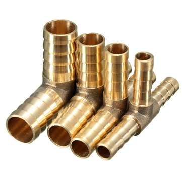6mm 8mm 10mm 12mm Brass T Piece 3 Way Fuel Hose Joiner Connector For Air Oil Gas