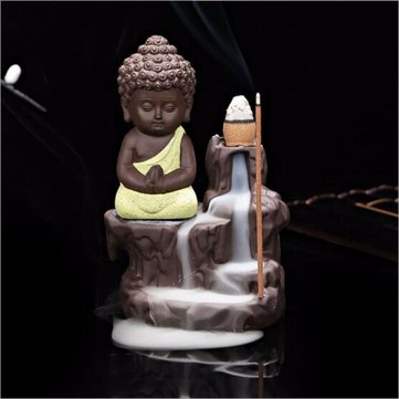 Ceramic Little Monk Backflow Incense Burner Cone Holder Censer Home Decor