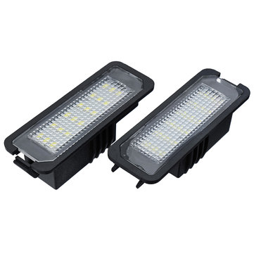 18 LEDs License Number Plate Lights White CAN-bus Error Free Pair for VW Golf EOS Passat Polo CC