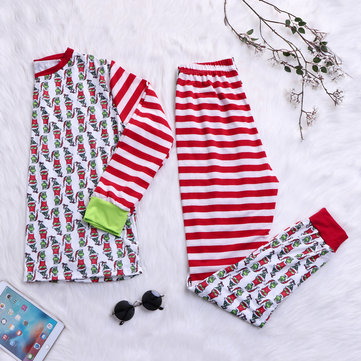 Mens Christmas Striped Cotton Splice Sleepwear Pajamas Set
