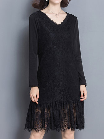 Vintage Lace V-Neck Long Sleeve Thick Velvet Women Dress