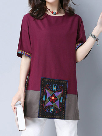 Ethnic Embroidery Patchwork Half Sleeve Split T-shirts