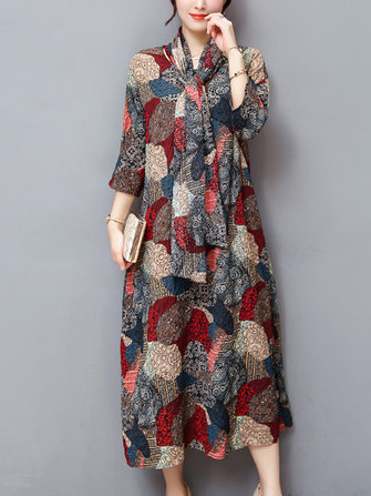 Plus Size Elegant Women Printed Tie Dresses