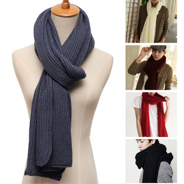 Unisex Cotton Knitting Stretchable Scarf Mens Womens Outdoor Soft Scarves