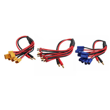 Amass 30cm 4.0mm Banana Plug to XT60 EC5 T Plug Battery Connectors Charger Cable for RC Lipo Battery