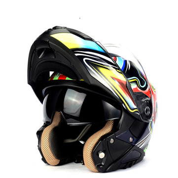 LVCOOL Full Face Motorcycle Helmet ABS Shell Motorcross Racing Helmet Dual Lens