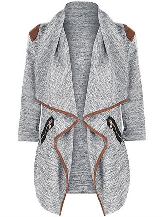 Casual Women Zipper Pocket Long Sleeve Cardigans