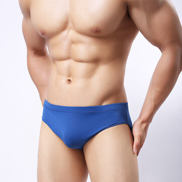 Mens Ice Silk Breathable Sexy Low Rise Seamless Briefs