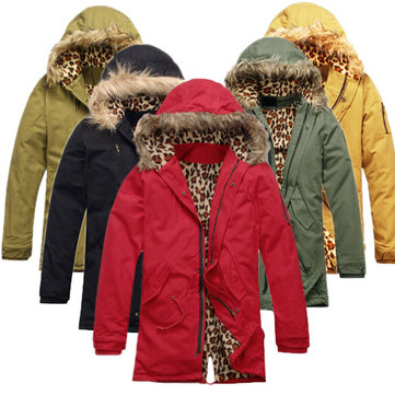 Winter Thick Warm Jacket Fur Collar Hooded Parka Cotton-padded Coat Outwear