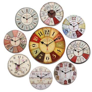 Round Vintage Rustic Wooden Wall Clock Quartz Movement